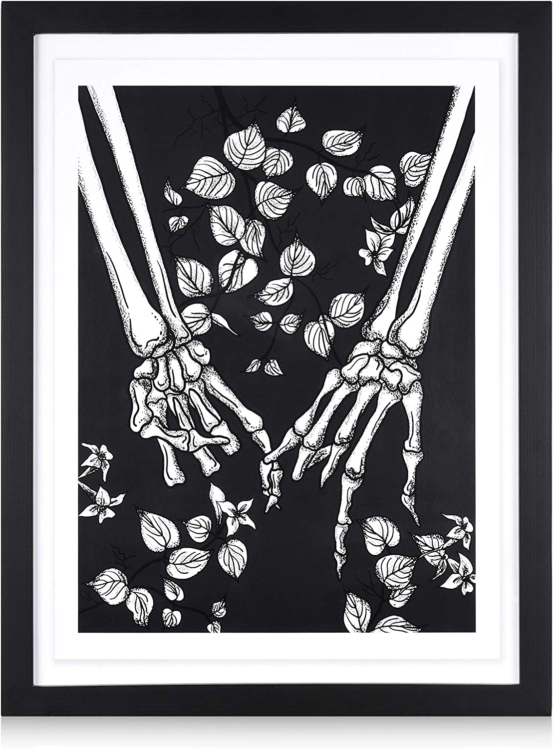 Gothic Wall Decor Art for Bedroom – Skull Bathroom Wall Decor – Edgy Aesthetic Dark Room Decoration for Teens but Not Only - FRAMED Wooden Hand in Hand 13x17 inch. Black and White Picture by Disar