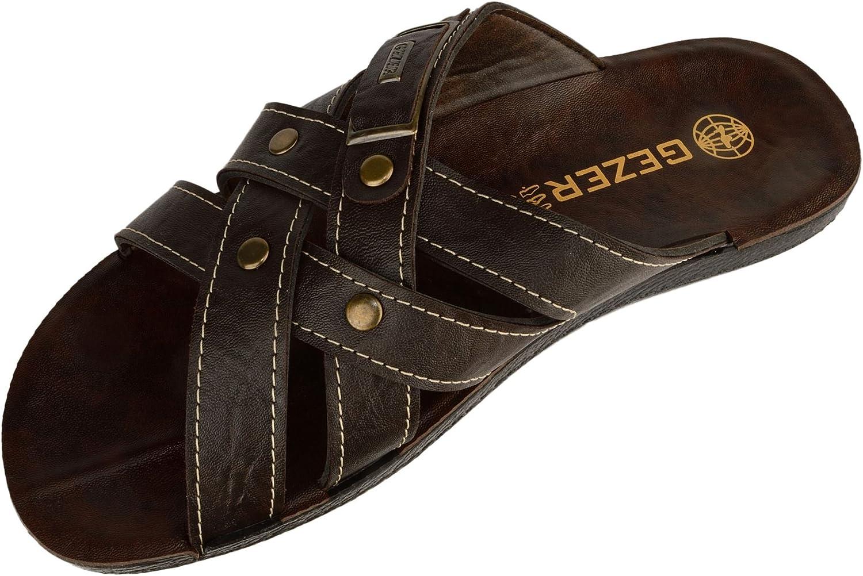 42 EU Gezer Bruce Mens Criss Cross Slip On Sandals Coffee 8 UK