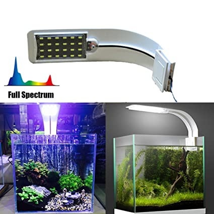 JackSuper 24 LED Aquarium Planted Light, 10W Full Spectrum Plant Grow Clip Lamp Fish Tank