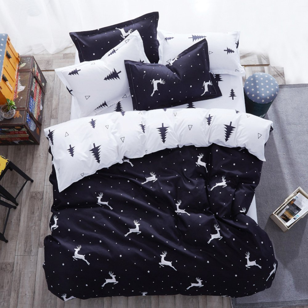 Mengersi Christmas Deer Bedding Pillowcase Duvet Cover Set with Zipper (King, White Deer)