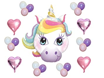 Unicorn Birthday Party Balloons Complete Foil Balloon Set With Pink Purple Hearts