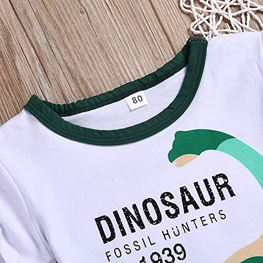 Green,2Y//90 JYC//Exclusive Toddler Baby Boys Kids Dinosaur Tops T-Shirt Tee Short Pants Casual Outfits Set