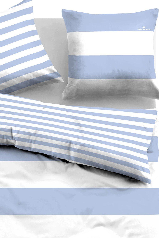 TOM TAILOR Wendebettw/äsche Casual Stripe 49769-843 1 Bettbezug 155 x 200 cm 1 Kissenbezug 80 x 80 cm