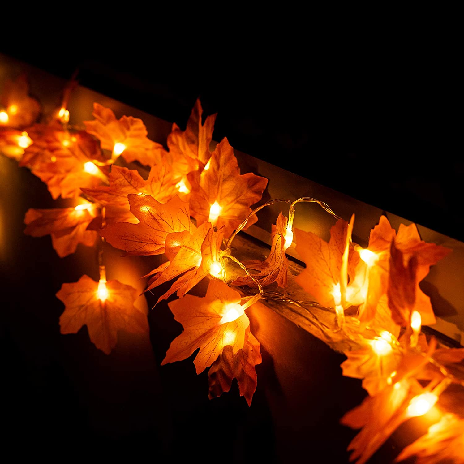 JIELIELE 2PACK Thanksgiving Maple Leaves Lights, 40 LEDs Twinkle Lights Battery Operated, Thanksgiving Lights for Thanksgiving, Home, Turkey Decorations Outdoor Indoor Fall Decor