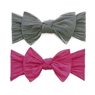 7e1331e6953e Baby Bling Bow 2 Pack  Classic Knots Girls Baby Headbands - MADE IN USA -