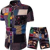 RkBaoye Mens Shorts Short Sleeve Floral Print Hawaiian 2 Pieces Beachwear Shirts