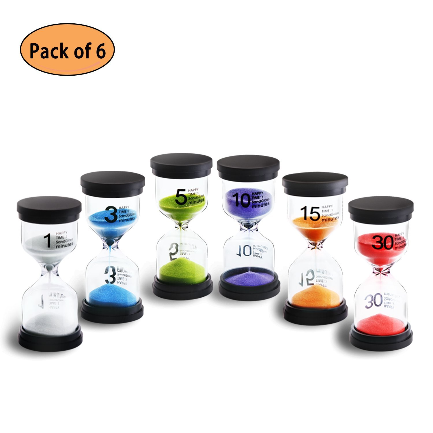 Sand Timer KeeQii 6 Colors Hourglass Timer 1min / 3mins / 5mins / 10mins / 15mins /30mins Sandglass Timer for Kids, Classroom, Kitchen, Games, Brushing Timer, Home Office Decoration Timers (6pcs)