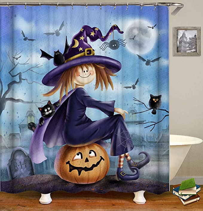 Creepy Witch Silhouette 66 x 72 Halloween Decoration Witch Shower Curtain