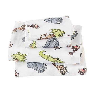 Fancy Collection 4pc Full Size Sheet Set Monkey Alligator Giraffe White Gray Green Brown New: Home & Kitchen