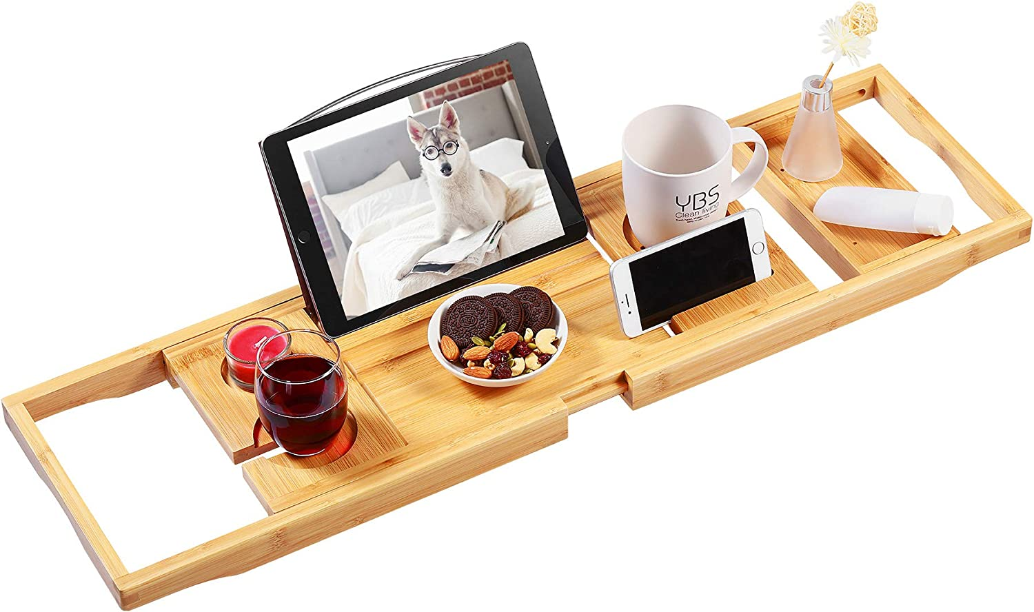 Amazon Com Bamboo Bathtub Caddy Tray Expandable Bath Tray For Tub With Upgraded Wine Slots And Book Holder Ideal For One Or Two Person Use Kitchen Dining
