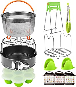 Aiduy 12 Pieces Pressure Cooker Accessories Set, Compatible with Instant Pot 6,8Qt-Steamer Basket, Non-stick Springform Pan, Egg Bites Mold, Egg Rack, Steamer Trivet, Kitchen Tongs, 3 sheets