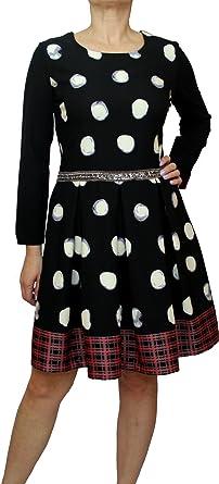 35b12082839578 4962 SAVE THE QUEEN Damen Kleid, Langarm Kleid, Knielang, A-Form, gltzer,  gepunktet, schwarz, M, L, XL.: Amazon.de: Bekleidung
