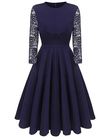 Finejo Damen Elegant Spitzenkleid mit 1 2 Armel Knielang Abendkleid  Festliches Cocktailkleid Ballkleid Rockabilly Kleid A-Linie Partykleid   Amazon.de  ... 1cd94b14e1