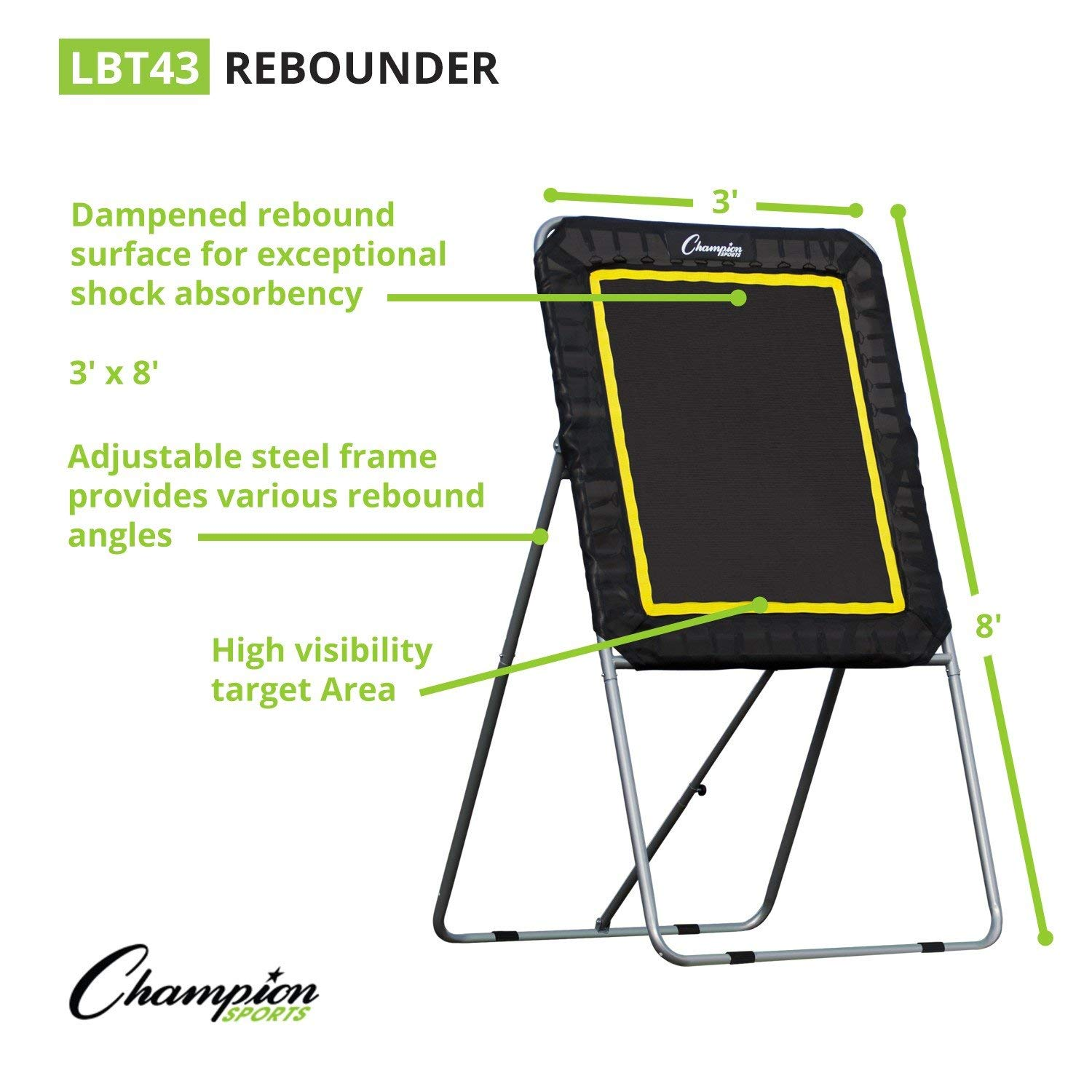 College and Grade School Training and Drills Practice Offense Champion Sports Deluxe Lacrosse Rebound Targets: Ball Return Bounce Back Net Set for Professional Renewed and Shooting Accuracy Passing Skills