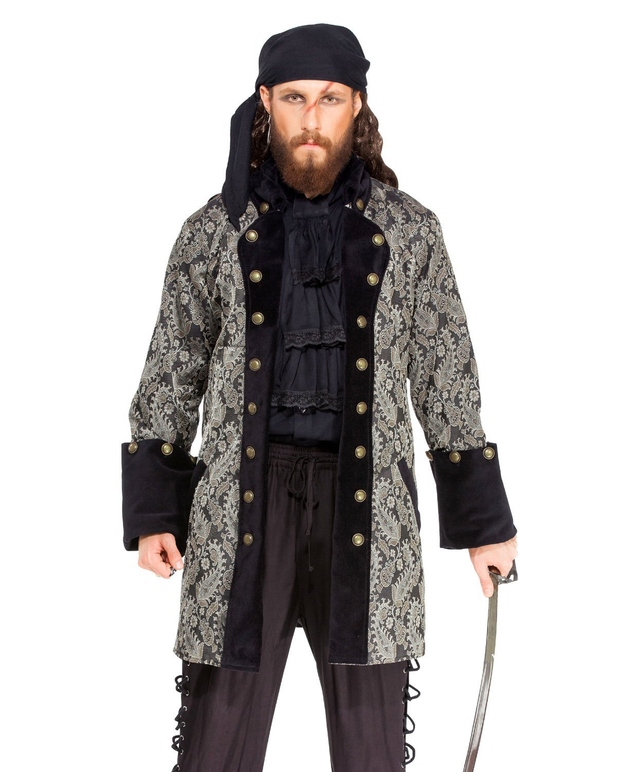 ThePirateDressing Pirate Medieval Renaissance Captain Jan de Bouff Coat Jacket Costume [C1412] (X-Large)