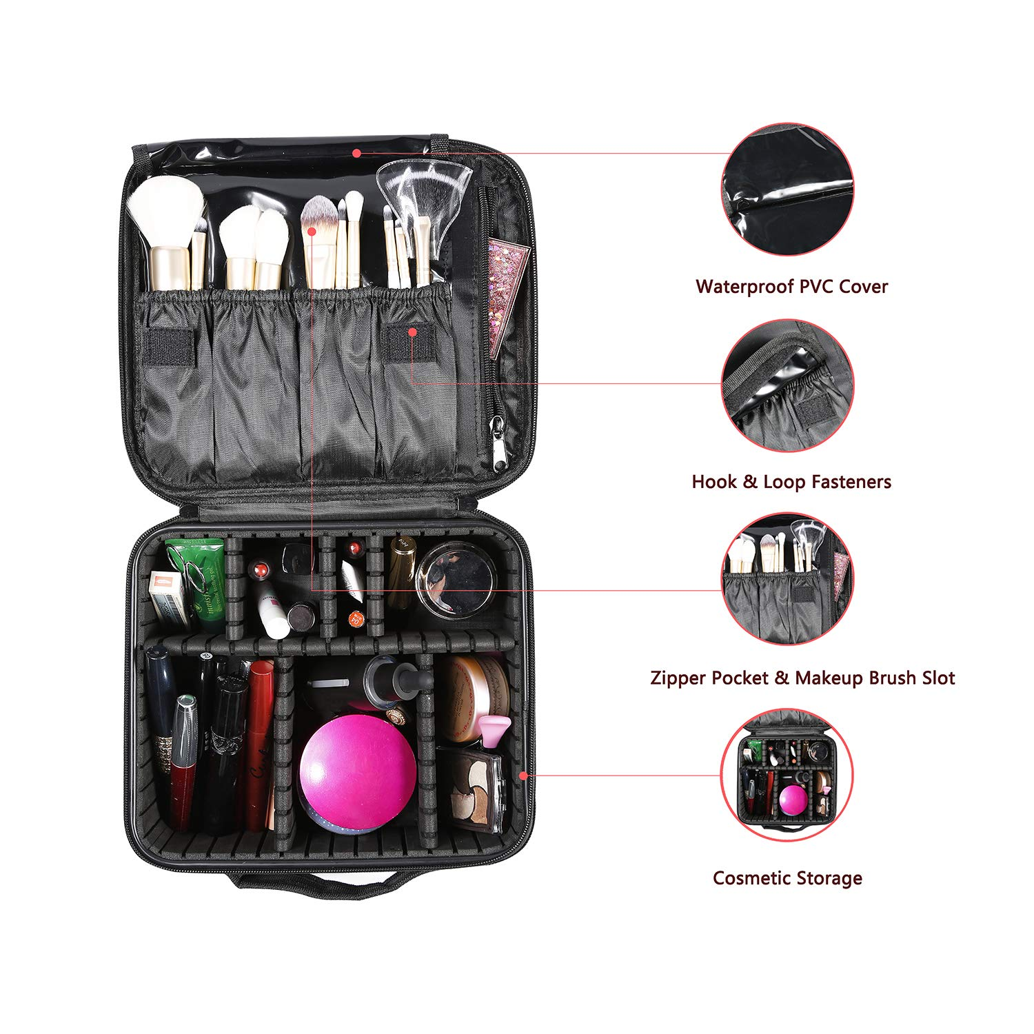 Travel Makeup Case Organizer Travel Cosmetic Train Case Bag Make Up Cases Organizers Storage with DIY Adjustable Divider for Women Cosmetics Makeup Brushes Jewelry