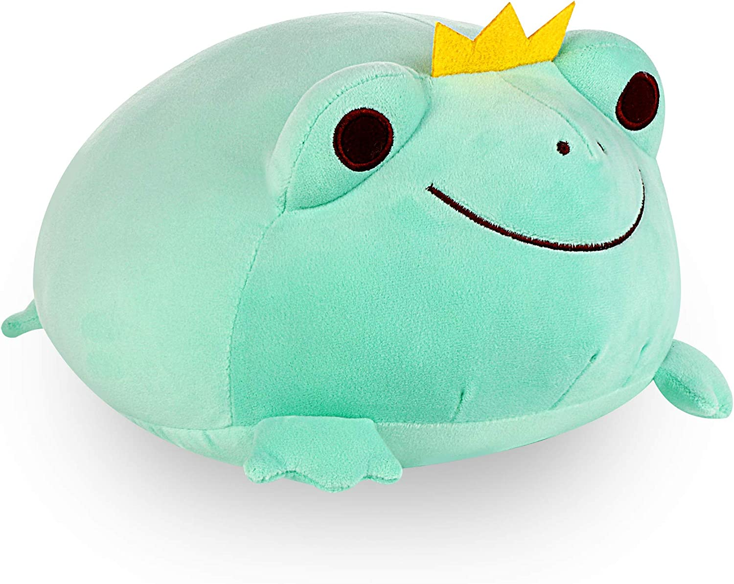 """Frog Stuffed Animal Durable Frog Plush Toy Stretchy Plush Frog Adorable Stuffed Frog with Crown Soft Frog Plush Pillow Creative Decoration Cuddly Gift for Kids Children Baby Girls Boys, Green 14"""""""