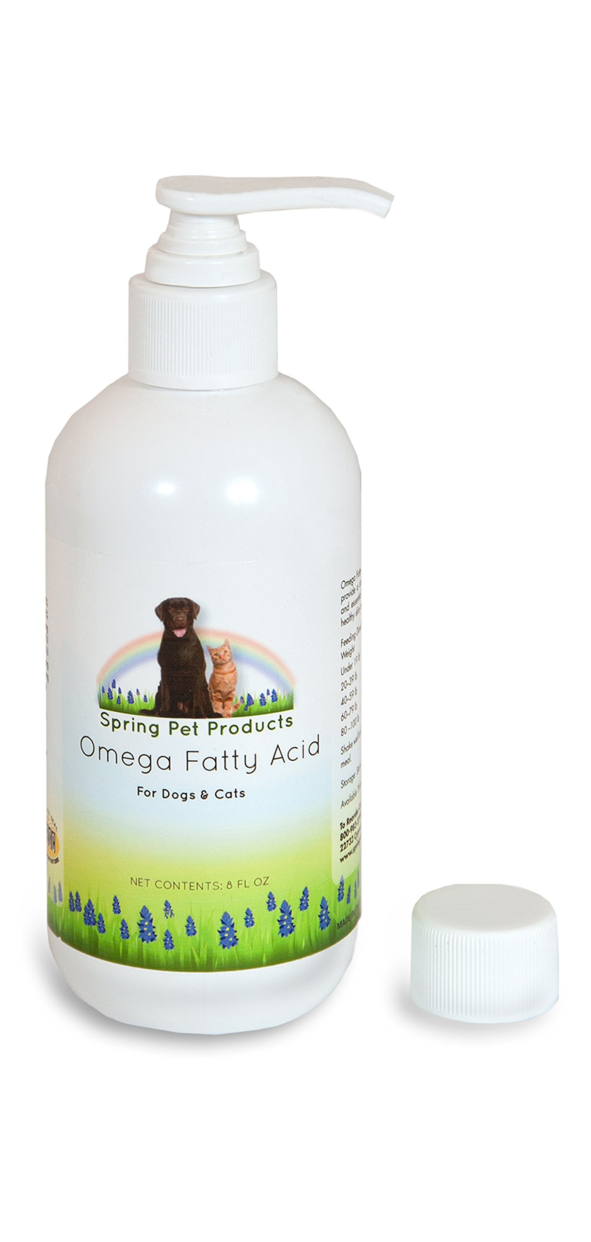 Spring Pet Fatty Acid Liquid Pump 8 oz Natural Fish Oil Supplement For Dogs and Cats With Vitamin A,D and E