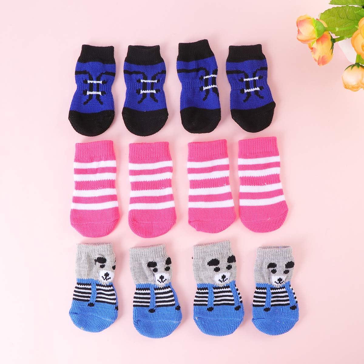 Dog Warm Socks-4PCS Cute Puppy Dogs Pet Knits Socks Anti Slip Cotton Socks Knitting Pet Ankle Sock Random Color Size S