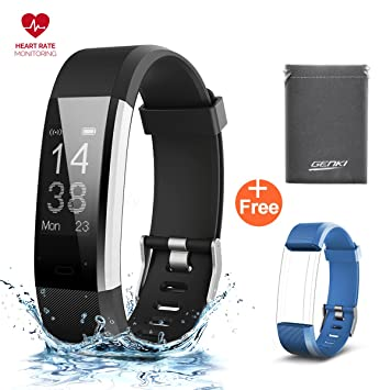 genki fitness tracker heart rate monitor smart watch pedometer