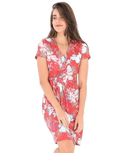 Smash Vestido Rojo De Fiesta Con Estampado Floral Tropical