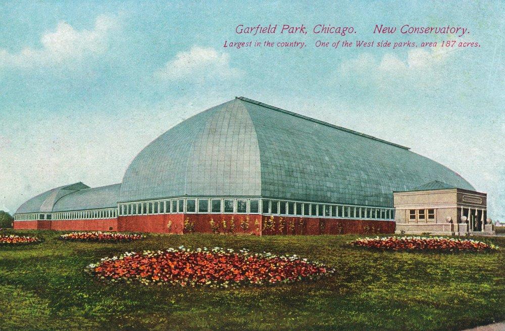 シカゴ、イリノイ州 – West Side公園;ビューのガーフィールドの公園と外壁Conservatory 36 x 54 Giclee Print LANT-26520-36x54 36 x 54 Giclee Print  B01MG398EB
