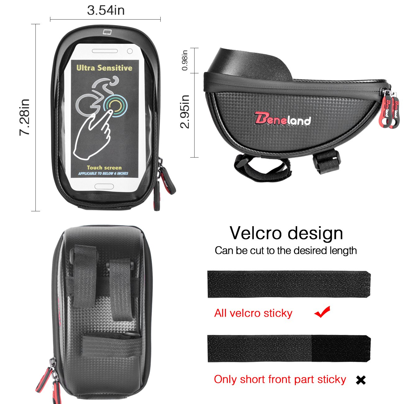 Bike Bag, Waterproof Touch Screen Bicycle Handbar Front Phone Frame Bag Holder For iPhone 8 7 Plus 6s 6 plus 5s 5 / Samsung Galaxy s7 s6 note 7 Cellphone Below 6.0 Inch With Sun Visor by Beneland (Image #3)