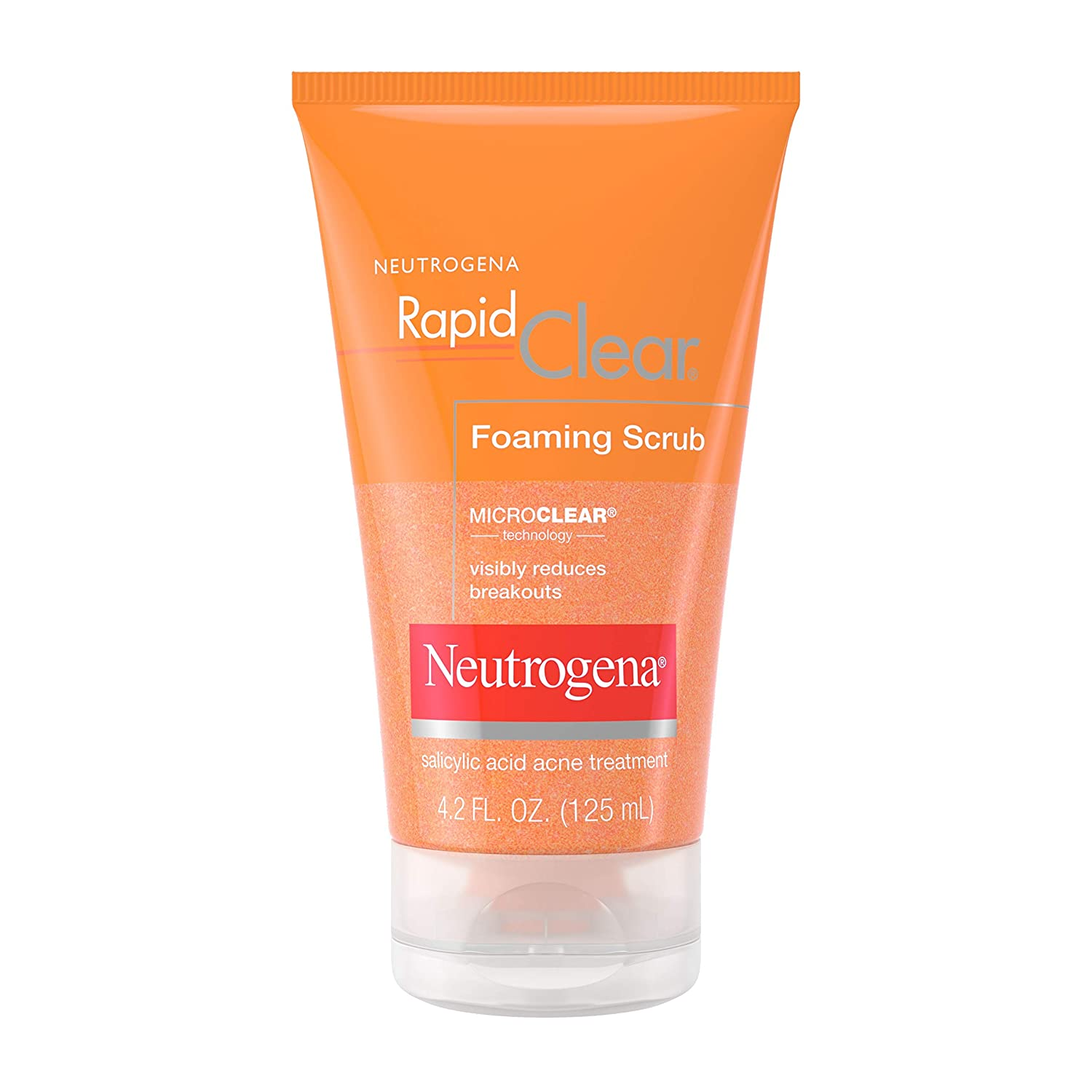 Neutrogena Rapid Clear Foaming Exfoliating Facial Scrub with Salicylic Acid Acne Medicine For Breakouts and Acne-Prone Skin, 4.2 fl. oz: Beauty