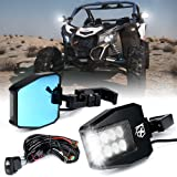 Xprite Aluminium UTV Rear View Side Mirrors with LED Spot Lights and Smoke Lens fit 1.5-2 Inch Roll Bar Cage for Polaris…