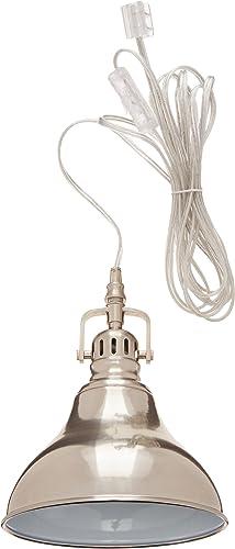 GLOBE ELECTRIC 65440 1LGT 1-Light Steel PlugIn Pendant
