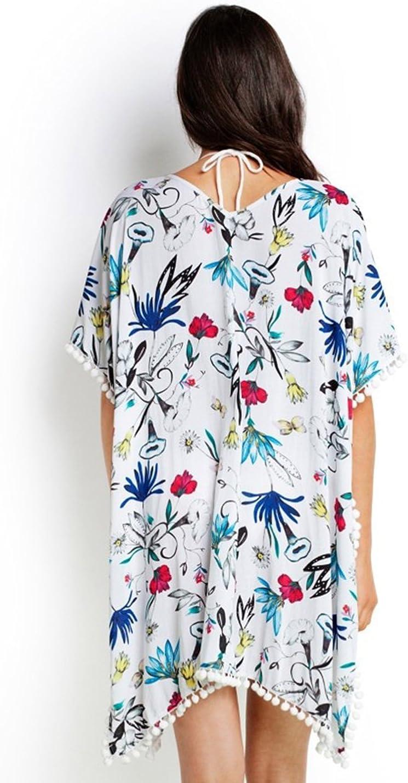 Womens Elegant Flowers Print Chiffon Fringing Bikini Beachwear Cover Up