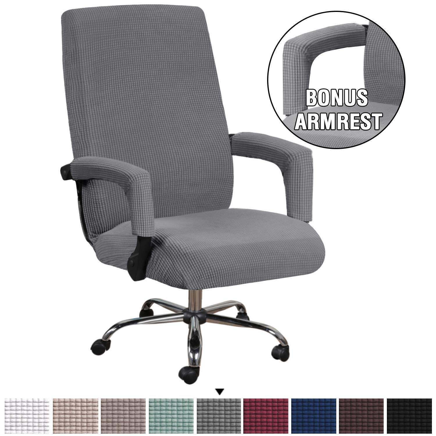 Office Furniture Lighting Chocolate Brown Skid Resistant Office Computer Chair Cover With Arm Covers Oversized Office Chair Covers High Back Slipcovers Stretch Furniture Cover Lycra Spandex Jacquard Fabric Super Soft Office