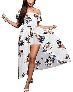 d21cb2c42ca BIUBIU Women s Off Shoulder Floral Rayon Party Split Maxi Romper Dress S-3XL