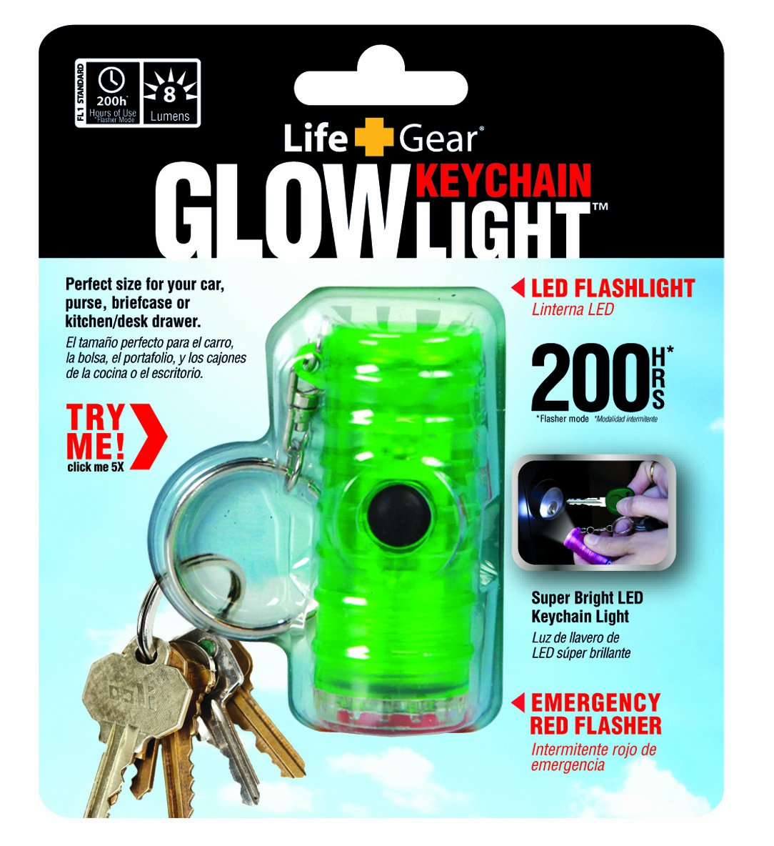 Life Gear Glow LED Flashlight Key Chain, Green - Mini Flashlight Led - Amazon.com