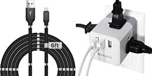 Aduro Magnetic Self Winding Fidget Lightning 6Ft. iPhone Charger Cable MFi Certified Cable Cord Bundle with Multiple Plug Outlet Extender with USB Charger Surge Protector Squared Wall Plug Expander