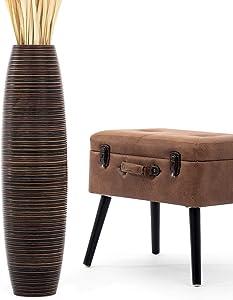 Leewadee Tall Big Floor Standing Vase for Home Decor 30 inches, Mango Wood, Brown