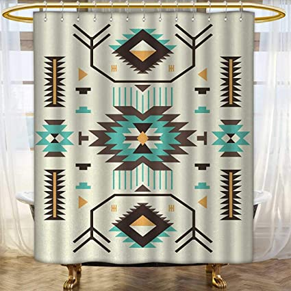 Southwestern Shower Curtains Waterproof Ethnic Pattern Design From Ancient Aztec Culture With Indigenous Zigzag Motifs Custom