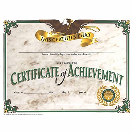 certificate of achievement with blue ribbon glossy paper quantity 150