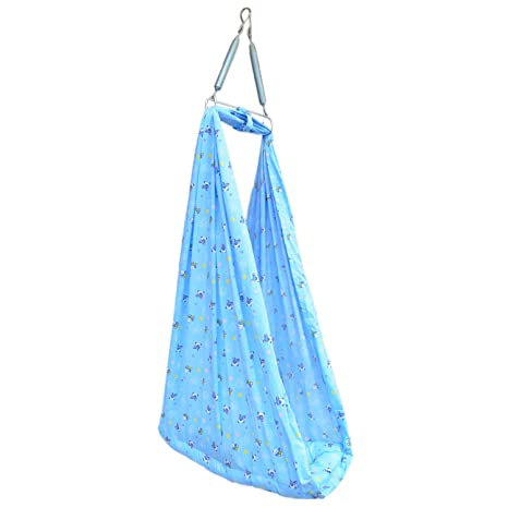 Younique Baby Cradle Swing/Baby Jhula Jhoola/Baby Bed/Baby Bedding Set with Mosquito Net and Spring Set (0-18 Months) - Blue