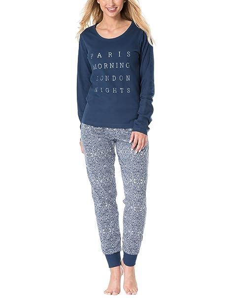 Rössli Sal-PY 1076 Pijama De Dos Piezas Camiseta De Manga Larga Pantalón Largo para