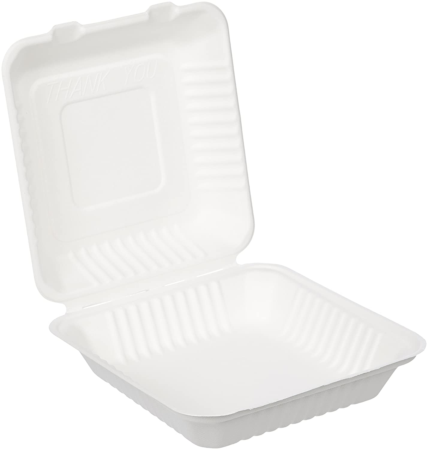 "AmazonBasics Compostable Clamshell Take-Out Food Container, 9"" x 9"" x 3.19"", Pack of 300"
