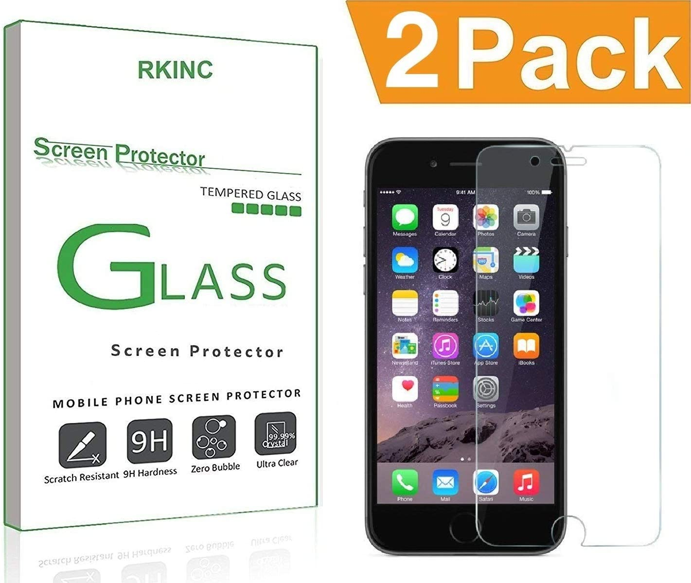 RKINC Screen Protector for Apple iPhone 6 6S, Tempered Glass Screen Protector[0.3mm, 2.5D][Bubble-Free][9H Hardness][Easy Installation][HD Clear] for Apple iPhone 6 6S(2 Pack)
