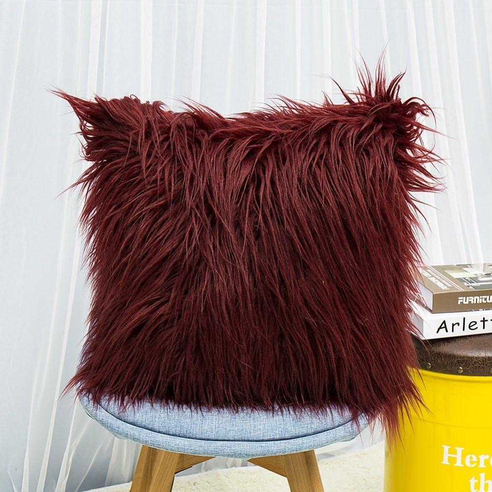 Voiture 45 x 45 cm Leezo Housse de Coussin d/écorative Super Douce en Fausse Fourrure pour canap/é Chambre /à Coucher
