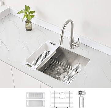 Modena Undermount Kitchen Sink Set 16 Gauge Stainless Steel 23 Inch Single Bowl Amazon Com
