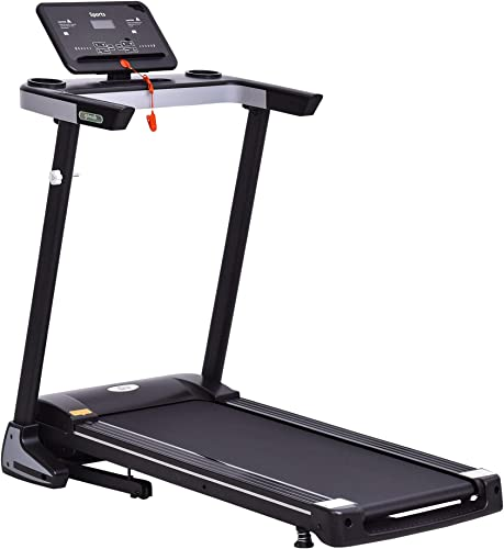 Soozier Electric Folding Treadmill Machine 16 Wide Tread Belt w LCD Display 12 Pre-Set Programs 7.5 MPH Max Speed w Cup Holder Mobile Phone Space