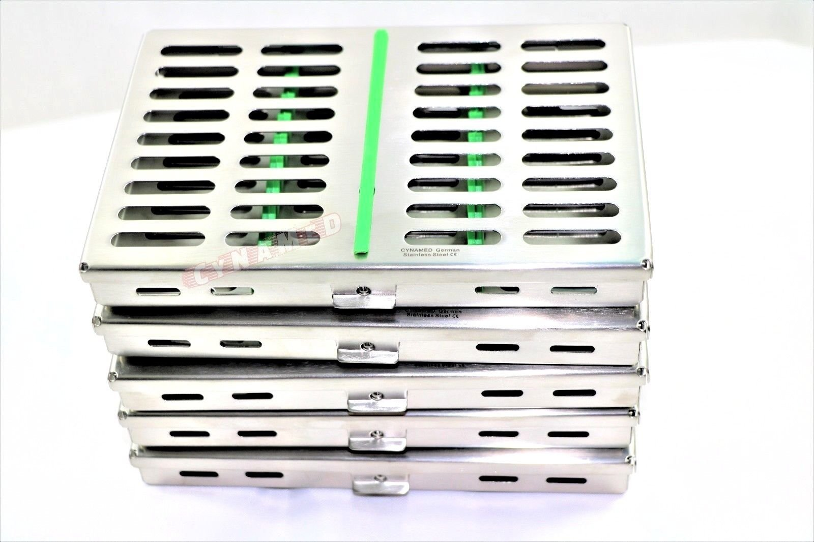 5 German Dental Surgical Autoclave Sterilization Cassettes Box for 10 Instruments 7.25''LX 5''W X0.75 Green CYNAMED