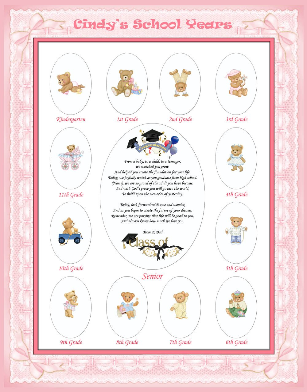 16 X 20 Personalized Pink Girl Ribbon Border My School Year Photo Mat with Teddy Bear Illustration. Cute Baby Shower or Nursery Decor Newborn Gift