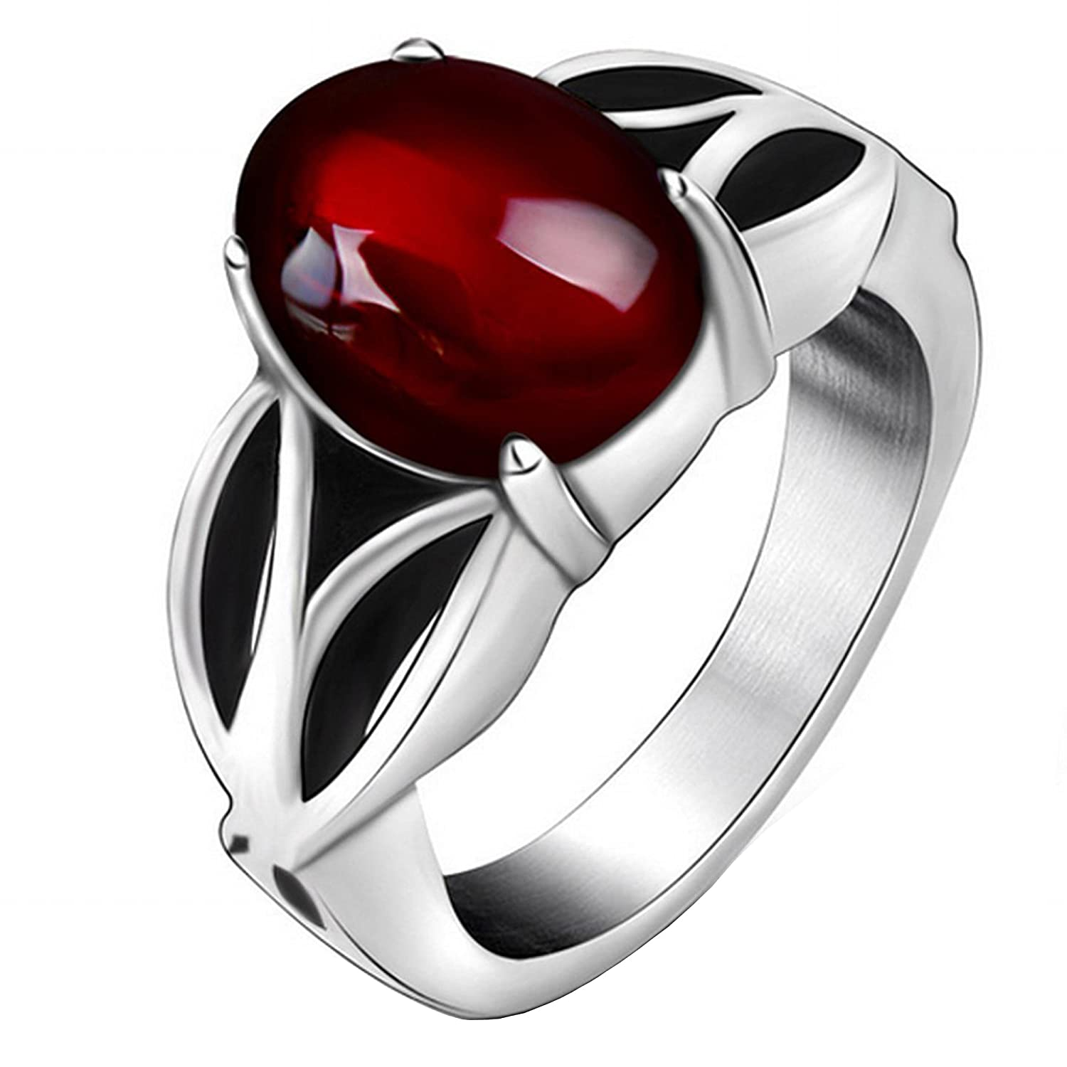 Claire Jin Unisex Red Garnet Ring Lover Couple Rings Hollow Out Titanium Steel Vintage Jewelry