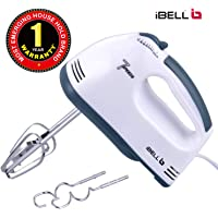 iBELL WHITES03 120-Watt Hand Mixer/Egg Beater with 7 Speed Control and 2 Stainless Steel Beaters and Dough Hooks (White)