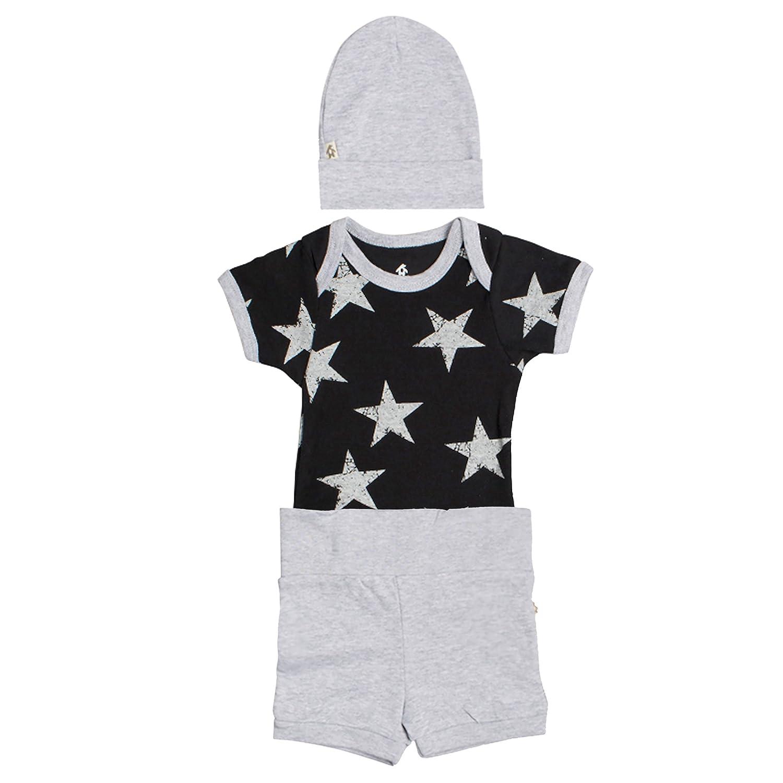 Snugabye 3 Piece Newborn Layette Baby Bodysuit Beanie Hat Short Outfit Gift Set